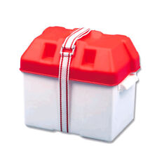 TREM SMALL BATTERY BOX WITH STRAP 190x270x200H RED TOP - MARINE GRADE & TOUGH
