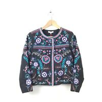 Parker Jacket Multi Color Halston Floral Embroidered Coat Zip Women's NWT $548