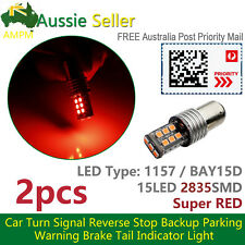 2X RED BAY15D 1157 LED Dual Filament Brake Stop Tail Light Indicator Signal Bulb