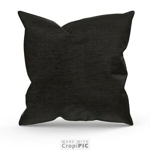 """Large Black Cushion's /Covers Or Complete 22"""" 24"""" 26""""  QUALITY CHENILLE FABRIC"""