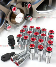 20 Pcs M14 X 1.5 Chrome Wheel Lug Nut Bolts W/ Red Lock Caps+Key+Socket For VW