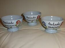 French Pottery Dutertre Desvres France Salad Bowls - Set of 3