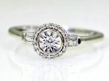 Sparkly Diamond Cluster 9ct White Gold Ring size L ~ 5 3/4