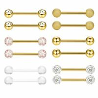 12PC Nipple Tongue Ring Barbell Nipplering Stainless Steel Body Piercing Jewelry