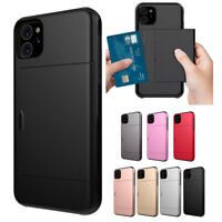 Phone Hard Case Hybrid Shell Cover With Slide Card Slot For iPhone 11 Shockproof