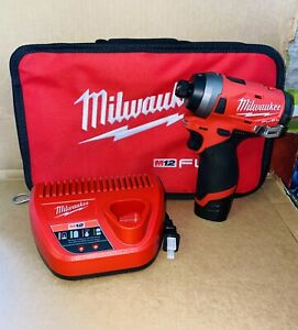 """NEW Milwaukee M12 Fuel Brushless 1/4"""" Impact Driver Kit w/ Battery, Charger, Bag"""
