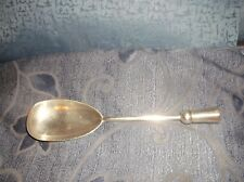 ANTIQUE UNUSUAL LONG SERVING SPOON SILVER PLATED HOLLOW TUBE END FOR WOOD HANDLE