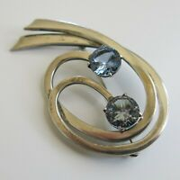 Vintage Sterling Silver Taxco Brooch Pin with 2 Blue Topaz Mexico [4741]