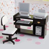 Sessel Tastatur Drucker Computer Host 1:12 Puppenhaus Computer Schreibtisch C9Q0