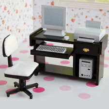 1:12 Dollhouse Miniature Computer Desk Chair Keyboard Printer Computer Host