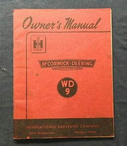 1948 INTERNATIONAL HARVESTER McCORMICK-DEERING WD9 WD-9 TRACTOR OPERATORS MANUAL