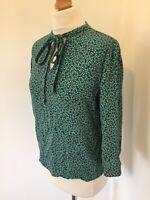 Zara Top Size Medium Green Spot Pattern Blouse Shirt Work Office 60s Business