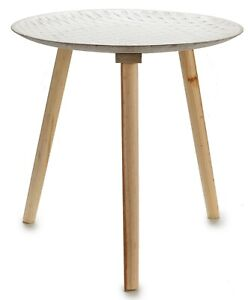 50cm Round Wooden Side Table 3 Legged Distressed White Coffee Table