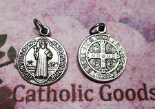 """Medalla De San Benito St Saint Benedict - Oxidized Silver Tone 7/8"""" Round Medal"""