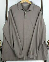 NIKE DRI-FIT Long Sleeve XL Mens Golf Casual Polo Shirt Chocolate Stripes EUC