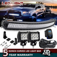 "For 2007-2018 Toyota Tundra/Sequoia Roof 50"" Curved LED Light Bar+4"" Pods Cube"