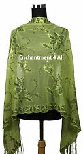 Handmade Lace Floral Pattern Scarf Shawl Wrap w/ Sequin & Crochet Fringe, Green