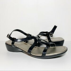 St John's Bay Black Leather Strappy Ankle Strap Sandals Women's Size 9.5 M