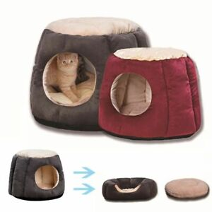 Cat Bed Foldable Puppy Cave Deep Sleeping Bag Mat Tent Portable Basket for Cats