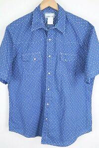 Wrangler Wrancher Mens Western Shirt XL Blue Geometric Pearl Snap Short Sleeve