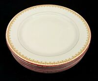 Homer Laughlin China Genesee Lot of 6 Dinner Plates Vintage Gold Red Trim