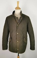 #146 Barbour Mens Chelsea Wax Quilt Olive Green Tartan Lined Jacket, XL 44/46