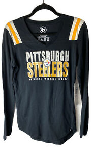 47 Womens Pittsburgh Steelers Long Stripe Sleeve Shirt 100% Cotton Sz Small  NWT