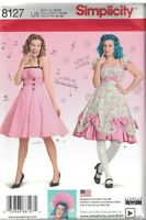 8127 UNCUT Simplicity Sewing Pattern Misses 1950s Dresses Rockabilly Lolita Bows