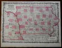 Iowa and Nebraska states great detail 1862 Johnson & Ward map Scarce Issue