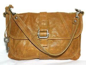 ❤️ FOSSIL Antiqued-Dijon Leather Flap Shoulder Bag 11.5x8x2.5 EXCELLENT! L@@K!