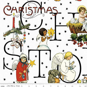 J. Wecker Frisch for Riley Blake All About Christmas Story White Cotton Fab BTY