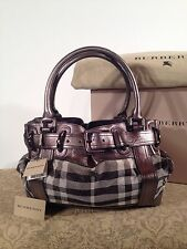 Burberry Authentic Limited Edition Shimmer Metallic and Pewter Check Handbag