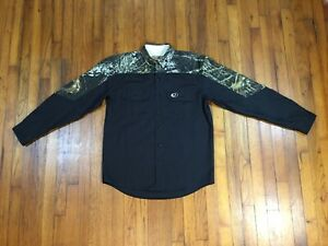 Men's MOSSY OAK Black Camo Long Sleeve Shirt Hunting Button Up Size M Medium VGC
