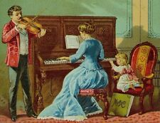 Victorian Trade Card Lady Playing Piano Man With Violin Little Girl In Chair F86