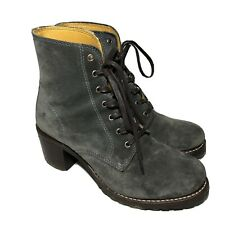 Frye Womens Sabrina 6G Lace Up Ankle Heel Boots 77479 Charcoal Gray Size 9.5 M