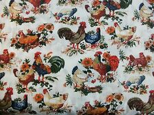 American Homestead Quilt Fabric White Rooster Chicken Sunflowers Flowers BTY