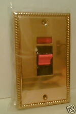BRASS GEORGIAN COOKER SWITCH WITH NEON 2 GANG PLATE