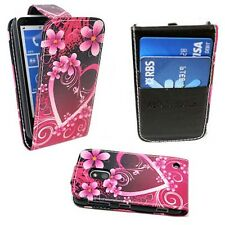 PINK HEART AND FLOWER DESIGN FLIP PU LEATHER CASE COVER FOR NOKIA LUMIA N620