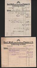 Pausa I. V., 2 documenti giustificativi 1929/30, auto-Noleggio Karl Wolf