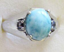 Men's Larimar & Iolite Ring, 925 Sterling Silver, size 13 -- 5.9 grams
