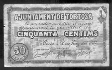 Ayuntamiento de TORTOSA 50 Centimos Junio 1937 @ Baix Ebre - Tortosa @
