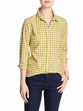 Banana Republic Women's Classic Plaid Flannel Shirt Yellow Sz Xsmall XS [14395]
