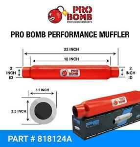 """2"""" inch 51mm 18"""" PRO Bomb glass pack exhaust muffler silencer Cherry Red Colour"""