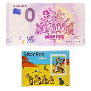 Lucky Luke 0 euro souvenir banknote and Lucky Luke stamp