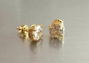 10K Gold SI1 Composite Lab Diamond Halo Earrings Screw Back 1 Ctw.