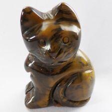Q72769 Beautiful Carved Tiger Eye Gem Cat figurine