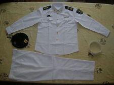 Obsolete 07's China PLA Navy Man Officer Summer Long-sleeved Uniform,White,Set.