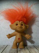 "5"" Red Hair Treasure Troll, Red Square/Diamond Belly Jewel Wishstone"