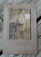 VINTAGE 1800's CABINET CARD PHOTO LITTLE BOY ON BIKE TWIN CITY PHOTO MPLS, MN.
