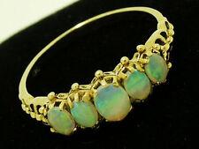 R128-.Genuine 9ct Solid Gold Natural Opal Bridge Eternity Ring 5-Stone sizeM